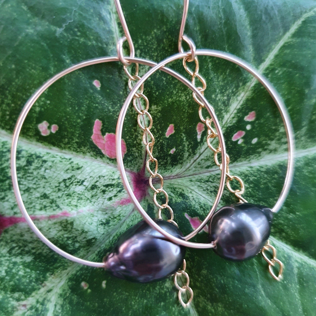 Hoop Earrings with Fiji Pearls and Chain - 14k Gold Filled FJD$ - Adorn Pacific - Fiji Jewelry - Made in Fiji