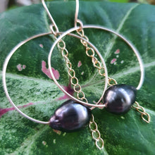 Load image into Gallery viewer, Hoop Earrings with Fiji Pearls and Chain - 14k Gold Filled FJD$ - Adorn Pacific - Fiji Jewelry - Made in Fiji