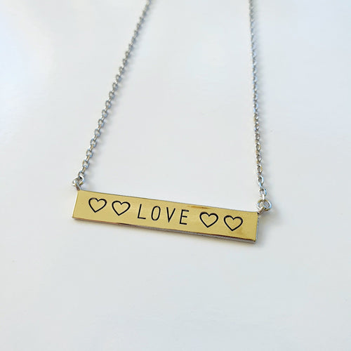 Engraved front & back LOVE YOU necklace - 925 Sterling Silver or 18k Gold Vermeil FJD$ - Adorn Pacific - Fiji Jewelry