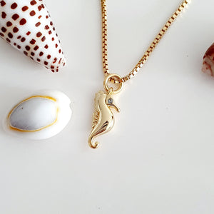 Seahorse Charm Necklace - 925 Sterling Silver or 18k Gold Vermeil $FJD - Adorn Pacific - Fiji Jewelry
