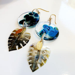 Adorn Pacific x Hot Glass Monstera Carved Oyster Shell Earrings - 925 Sterling Silver or 14k Gold Filled FJD$ - Adorn Pacific - Fiji Jewelry