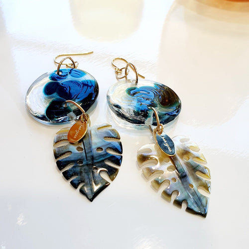 Adorn Pacific x Hot Glass Monstera Carved Oyster Shell Earrings - 925 Sterling Silver or 14k Gold Filled FJD$ - Adorn Pacific - Fiji Jewelry - Made in Fiji