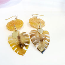 Load image into Gallery viewer, Adorn Pacific x Hot Glass Monstera Carved Oyster Shell Earrings - 925 Sterling Silver or 14k Gold Filled FJD$ - Adorn Pacific - Fiji Jewelry
