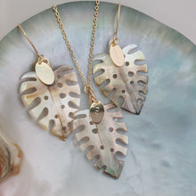 Load image into Gallery viewer, Monstera Carved Oyster Shell Earrings and Necklace Set - 14k Gold Filled or 925 Sterling Silver FJD$ - Adorn Pacific - Fiji Jewelry