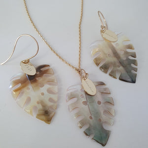 Monstera Carved Oyster Shell Earrings and Necklace Set - 14k Gold Filled or 925 Sterling Silver FJD$ - Adorn Pacific - Fiji Jewelry