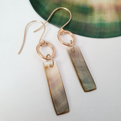 Carved Mother of Pearl Drop Shell Earrings - 14k Gold Filled FJD$ - Adorn Pacific - Fiji Jewelry - Made in Fiji
