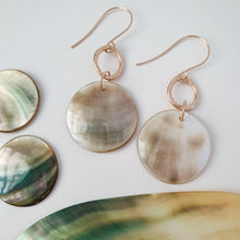 Load image into Gallery viewer, Carved Round Mother of Pearl Shell Earrings - 14k Gold Filled FJD$ - Adorn Pacific - Fiji Jewelry - Made in Fiji