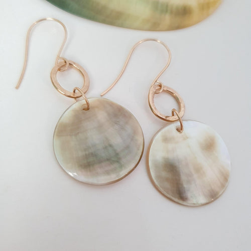 Carved Round Mother of Pearl Shell Earrings - 14k Gold Filled FJD$ - Adorn Pacific - Fiji Jewelry - Made in Fiji