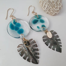 Load image into Gallery viewer, Adorn Pacific x Hot Glass Monstera Carved Oyster Shell Earrings - 14k Gold Filled FJD$ - Adorn Pacific - Fiji Jewelry - Made in Fiji