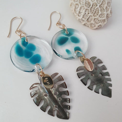 Adorn Pacific x Hot Glass Monstera Carved Oyster Shell Earrings - 14k Gold Filled FJD$ - Adorn Pacific - Fiji Jewelry - Made in Fiji
