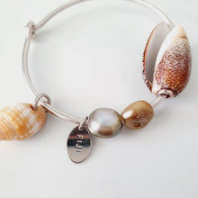 Load image into Gallery viewer, Fiji Pearl and Shell Bangle 925 Sterling Silver - FJD$ - Adorn Pacific - Fiji Jewelry - Made in Fiji