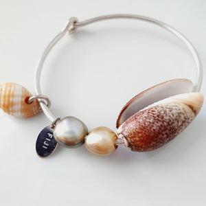 Fiji Pearl and Shell Bangle 925 Sterling Silver - FJD$ - Adorn Pacific - Fiji Jewelry - Made in Fiji