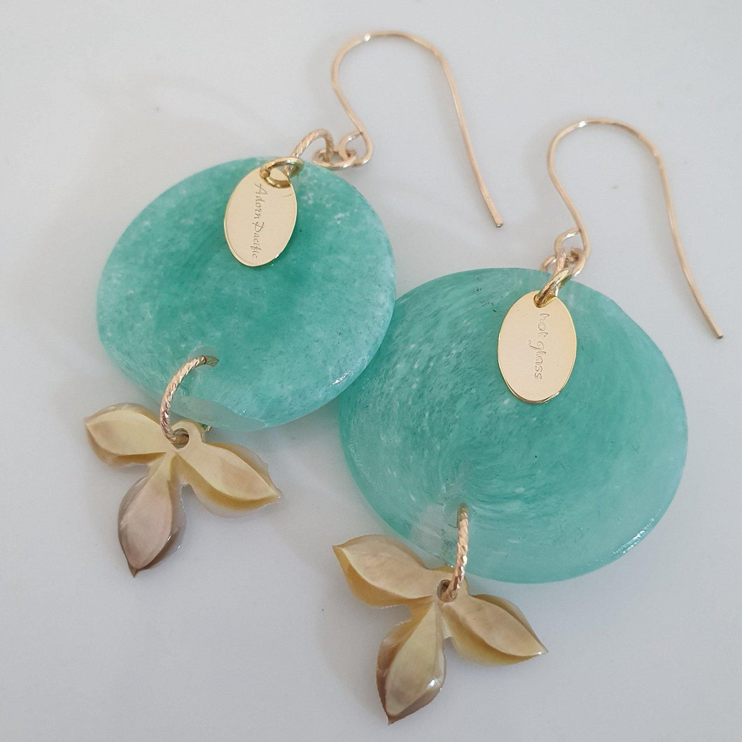 Adorn Pacific x Hot Glass Carved Flower Shell Earrings in 14k Gold Filled - FJD$ - Adorn Pacific - Fiji Jewelry - Made in Fiji