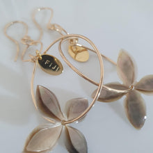 Load image into Gallery viewer, Carved Frangipani Shell Earrings - 14k Rose Gold Filled FJD$