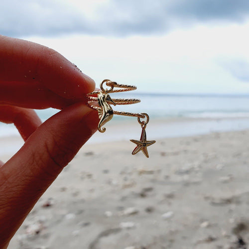 Textured Starfish & Seahorse Charm Ring - 14k Gold Filled FJD$ - Adorn Pacific - Fiji Jewelry