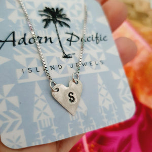 Custom Heart & Initial Necklace - 925 Sterling Silver FJD$ - Adorn Pacific - Fiji Jewelry