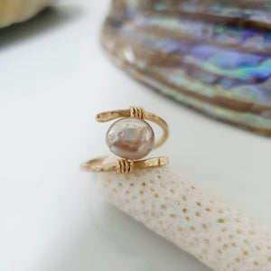 CUSTOM MADE STYLE - Fiji Saltwater Pearl Ring adjustable - 14k Gold Fill