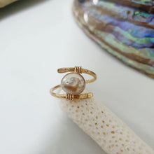 Load image into Gallery viewer, CUSTOM MADE STYLE - Fiji Saltwater Pearl Ring adjustable - 14k Gold Fill