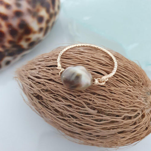 READY TO SHIP - Fiji Saltwater Pearl Ring - 14k Gold Fill - Adorn Pacific - Fiji Jewelry - Made in Fiji