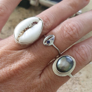 CUSTOM MADE STYLE - Bezel set Fiji Cowrie Shell Ring - 925 Sterling Silver FJD$