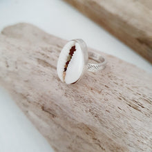 Load image into Gallery viewer, CUSTOM MADE STYLE - Bezel set Fiji Cowrie Shell Ring - 925 Sterling Silver FJD$