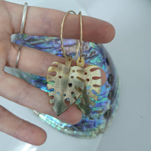 Load image into Gallery viewer, Monstera Carved Fiji Oyster Hoop Earrings in 14k Gold Filled or 925 Sterling Silver - FJD$