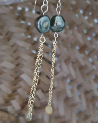 Fiji Saltwater Pearl Chain Earring Adorn Pacific