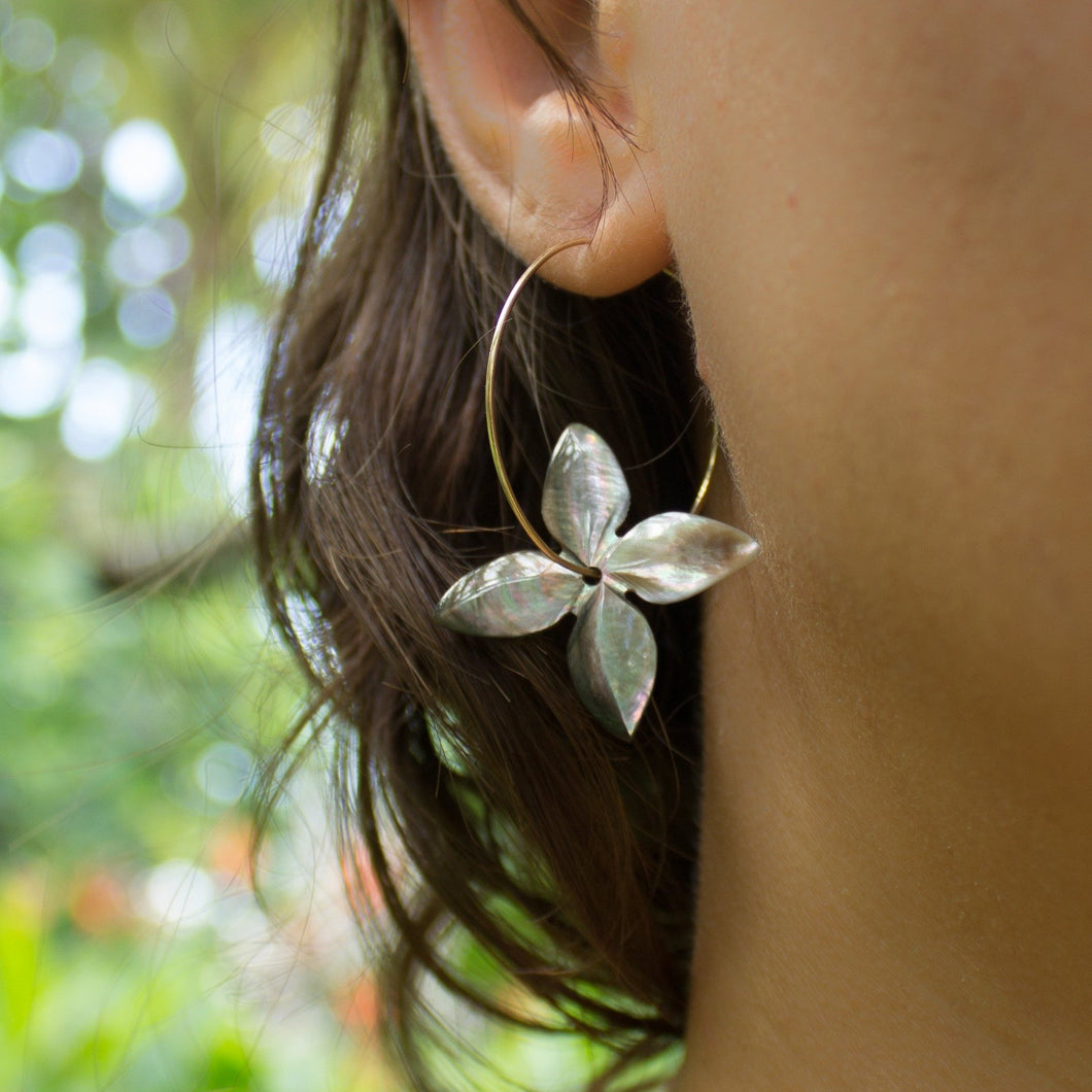 Fiji Frangipani Shell Earrings 925 Sterling Silver - FJD$ - Adorn Pacific - Fiji Jewelry - Made in Fiji