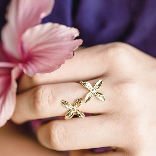 Frangipani Bua Ring - 925 Sterling Silver or 18k Gold Vermeil FJD$ - Adorn Pacific - Fiji Jewelry - Made in Fiji