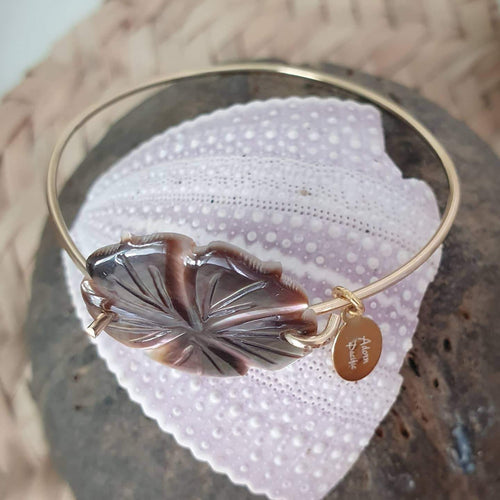 Carved Oyster Shell Hibiscus Bangle - 925 Sterling Silver FJD$ - Adorn Pacific - Fiji Jewelry - Made in Fiji