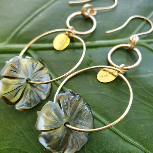 Carved Shell Hibiscus Flower Earrings - 14k Gold Filled FJD$ - Adorn Pacific - Fiji Jewelry - Made in Fiji