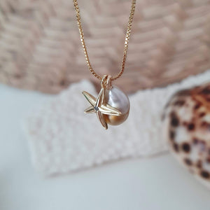 Fiji Pearl and Starfish Charm Necklace in 18k Gold Vermeil or 925 Sterling Silver - FJD$ - Adorn Pacific - Fiji Jewelry