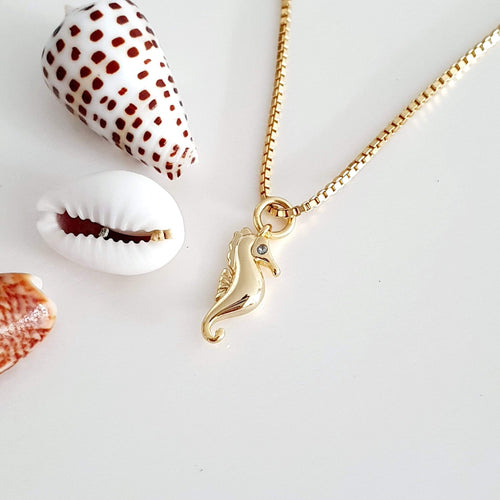 Seahorse Charm Necklace - 925 Sterling Silver or 18k Gold Vermeil $FJD - Adorn Pacific