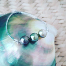 Load image into Gallery viewer, Triple Fiji Saltwater Pearl 925 Sterling Silver Box Chain Bracelet - FJD$ - Adorn Pacific - Fiji Jewelry