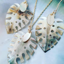 Load image into Gallery viewer, Monstera Carved Oyster Shell Necklace - 148k Gold Vermeil or 925 Sterling Silver FJD$ - Adorn Pacific - Fiji Jewelry