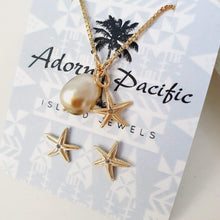 Load image into Gallery viewer, Starfish and Fiji Pearl Set- 18k Gold Vermeil FJD$ - Adorn Pacific - Fiji Jewelry