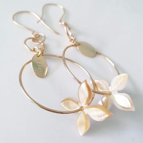 Frangipani Oyster Shell Earrings - 14k Rose Gold Filled FJD$ - Adorn Pacific - Fiji Jewelry - Made in Fiji