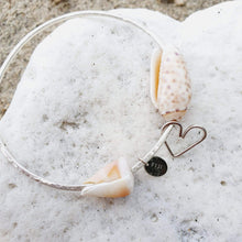 Load image into Gallery viewer, One-Off Heart & Shell Bangle - 925 Sterling Silver FJD$ - Adorn Pacific - Fiji Jewelry