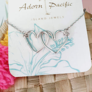 Double Heart Necklace - 925 Sterling Silver FJD$ - Adorn Pacific - Fiji Jewelry
