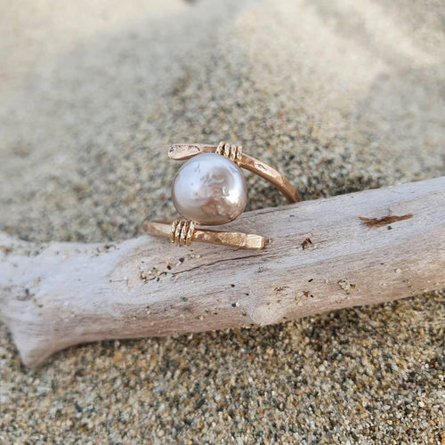 CUSTOM MADE STYLE - Fiji Saltwater Pearl Ring adjustable - 14k Gold Fill - Adorn Pacific - Fiji Jewelry - Made in Fiji