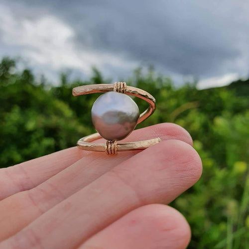 READY MADE STYLE - Fiji Saltwater Pearl Ring adjustable - 14k Gold Fill - Adorn Pacific - Fiji Jewelry - Made in Fiji