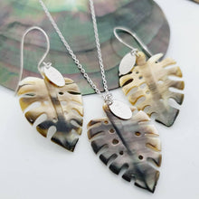 Load image into Gallery viewer, Monstera Carved Oyster Shell Earrings and Necklace Set - 14k Gold Filled or 925 Sterling Silver FJD$