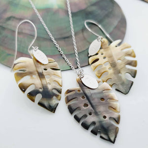 Monstera Carved Oyster Shell Earrings and Necklace Set - 14k Gold Filled or 925 Sterling Silver FJD$