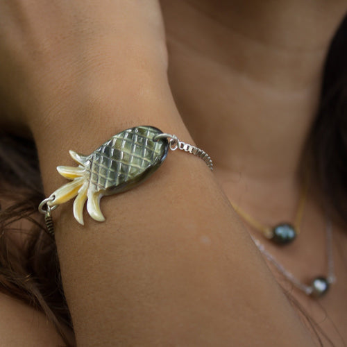 Carved Fiji Oyster Pineapple Shell Bracelet in 925 Sterling Silver - FJD$ - Adorn Pacific - Fiji Jewelry - Made in Fiji