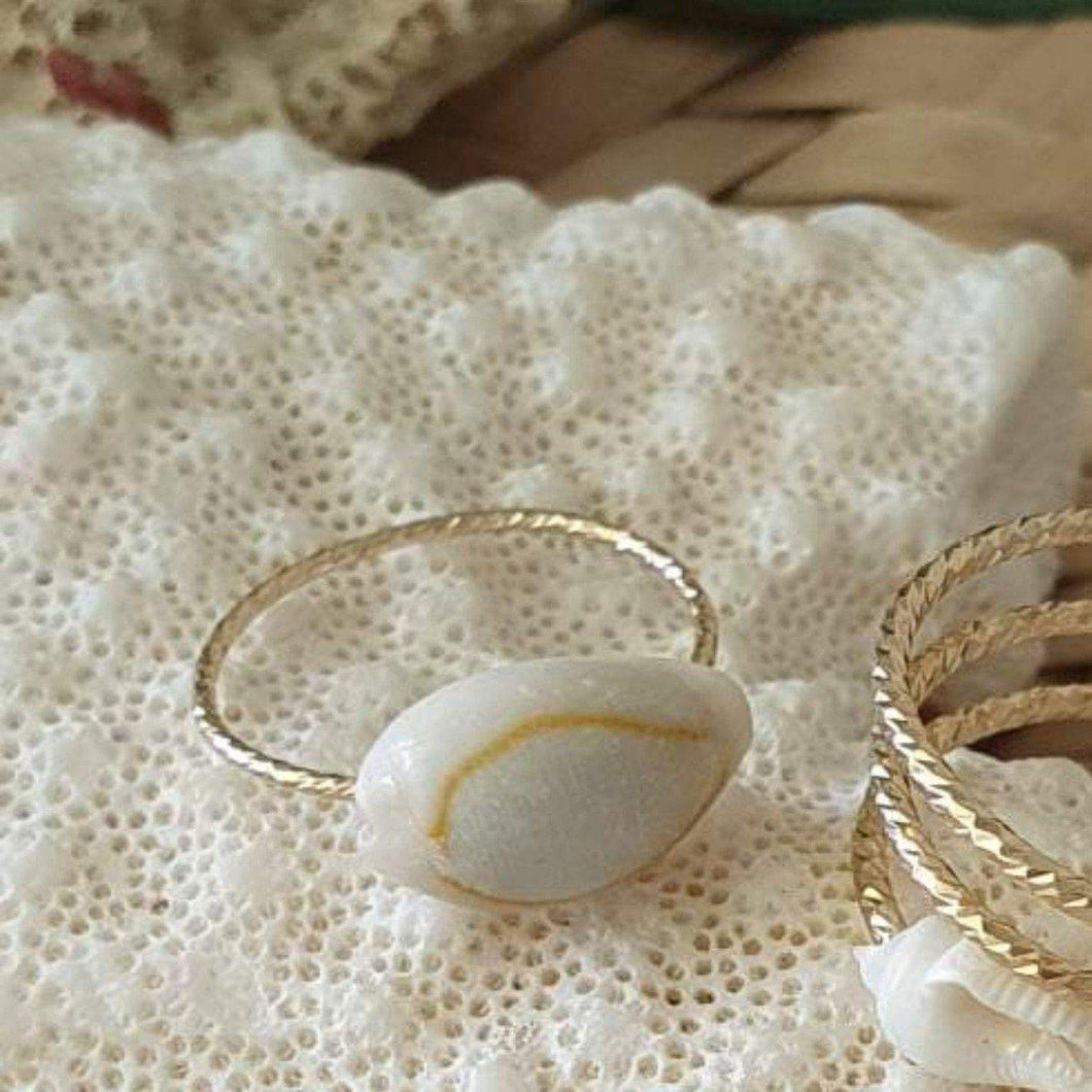 Textured Cowrie Shell Ring - 14k Gold Filled FJD$ - Adorn Pacific - Fiji Jewelry