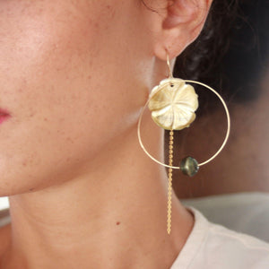 Hoop Earrings with Fiji Pearls, Hibiscus and Chain - 14k Gold Filled FJD$ - Adorn Pacific - Fiji Jewelry - Made in Fiji