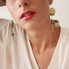 Load image into Gallery viewer, Hoop Earrings with Fiji Pearls, Hibiscus and Chain - 14k Gold Filled FJD$ - Adorn Pacific - Fiji Jewelry