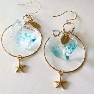 Adorn Pacific x Hot Glass Starfish Wave Hoop Earrings - FJD$ - Adorn Pacific - Fiji Jewelry