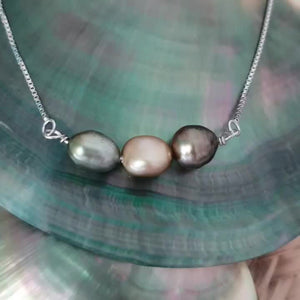 Triple Fiji Saltwater Pearl 925 Sterling Silver Box Chain Necklace - FJD$ - Adorn Pacific - Fiji Jewelry