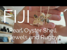 Load and play video in Gallery viewer, Adorn Pacific x Hot Glass Monstera Carved Oyster Shell Earrings - 14k Gold Filled FJD$